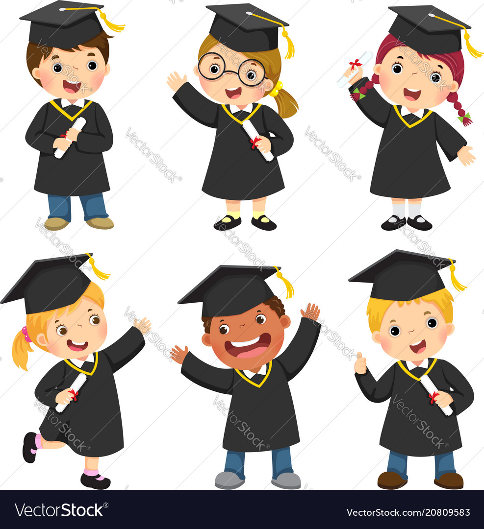Children in a graduation gown and mortar board Vector Image