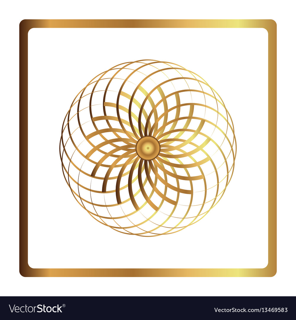 Circular pattern geometric icon gold flower