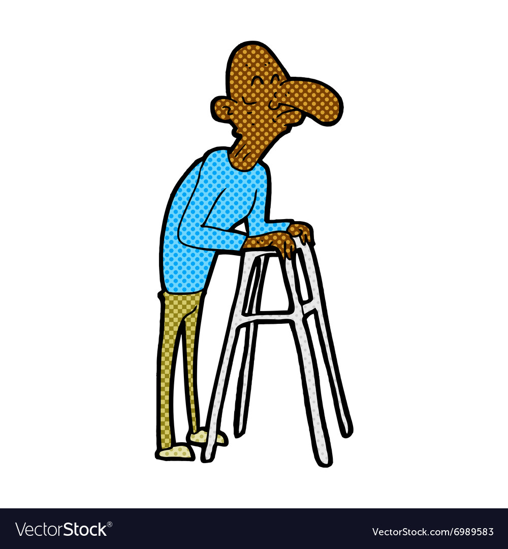 Comic cartoon old man with walking frame Vector Image