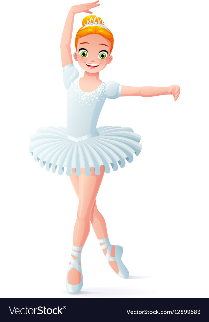 Cute smiling young dancing ballerina girl