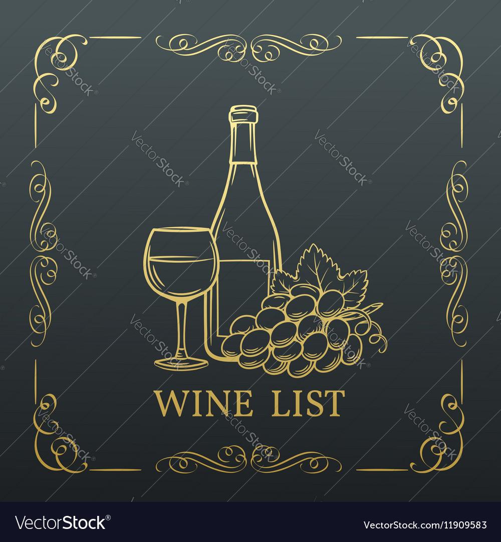 Decorative gold banner wine design