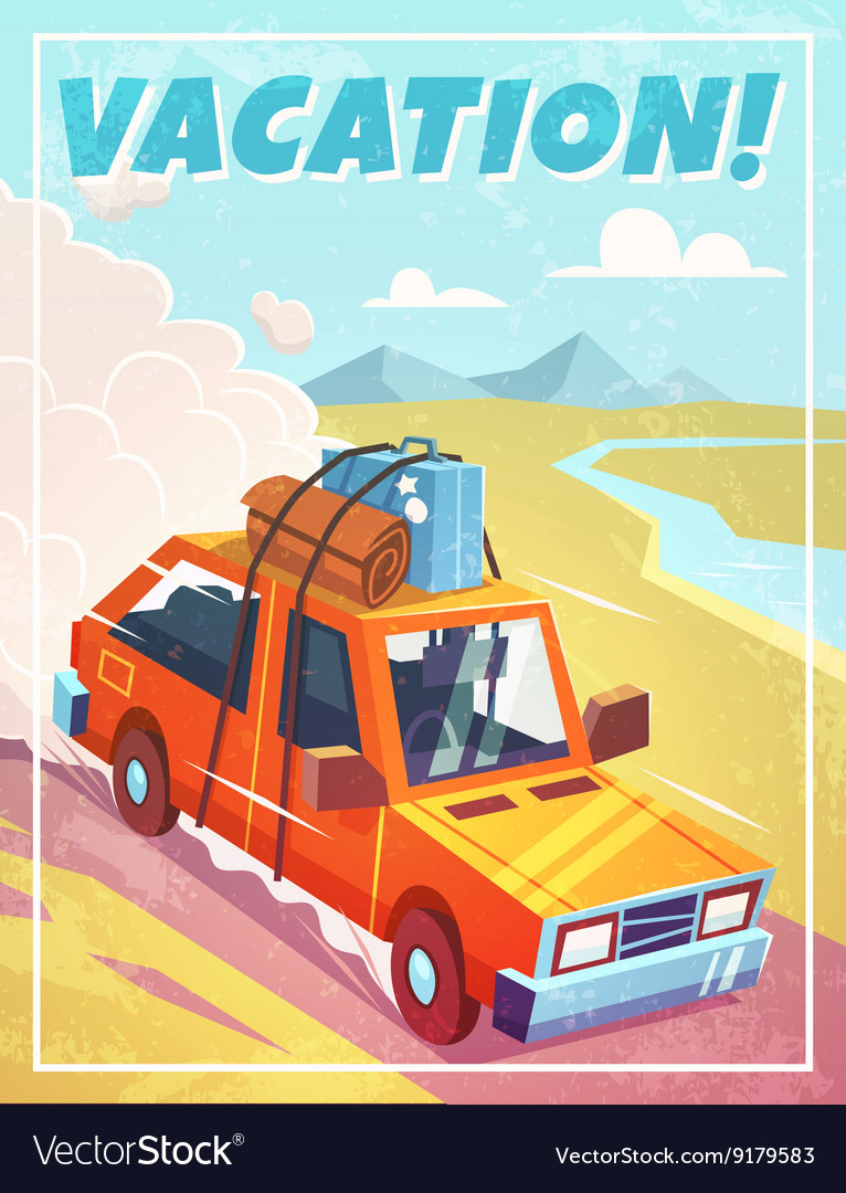 Grunge vacation background with car