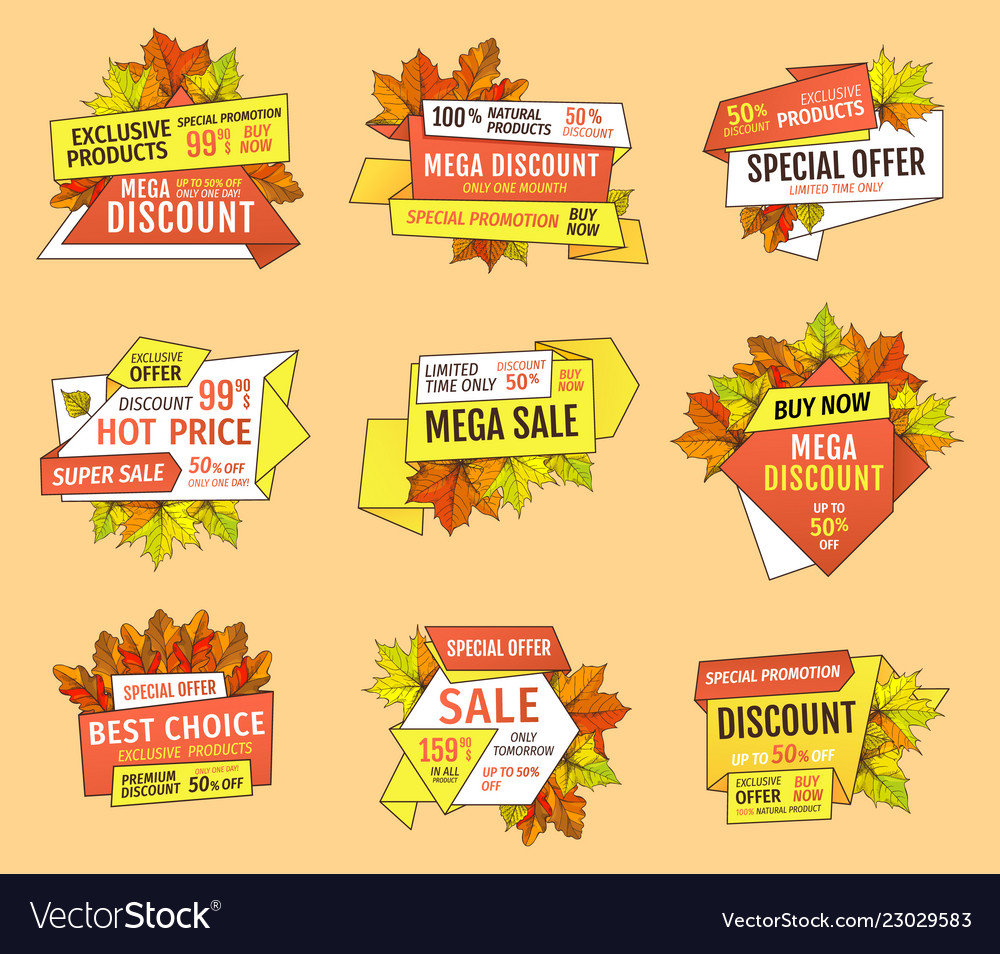 promo tags templates set special autumn discounts vector image