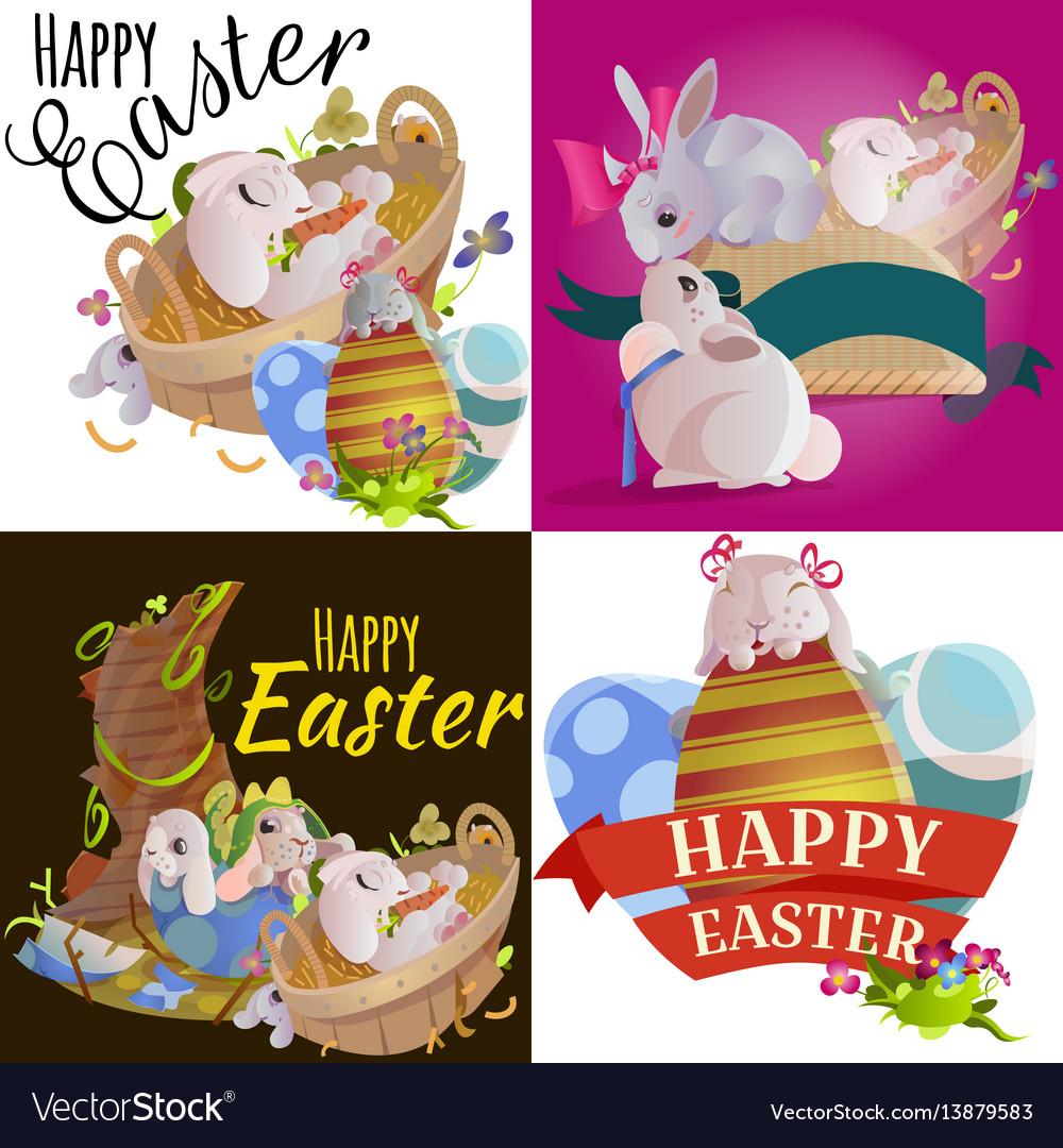 Set easter egg hunt funny bunny with basket