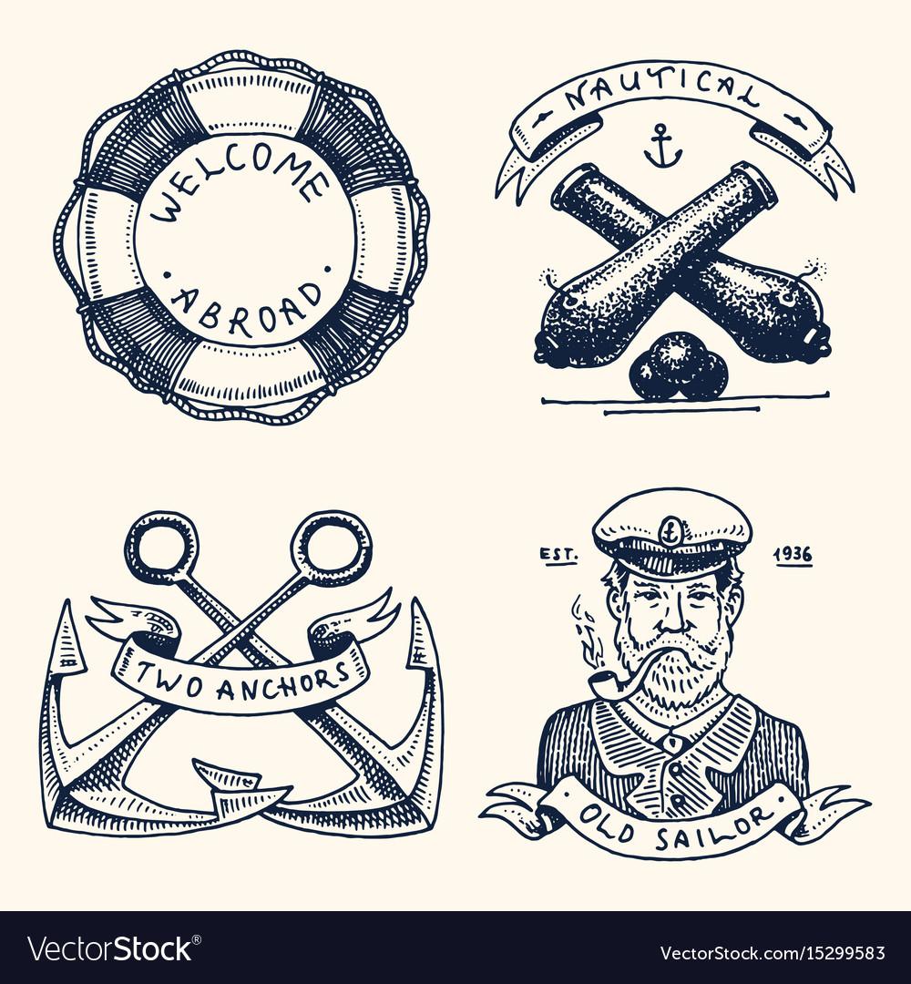Set of engraved vintage hand drawn old labels