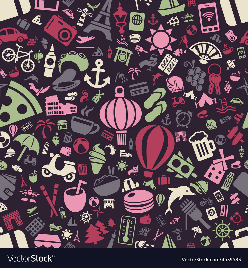Travel and holiday seamless pattern