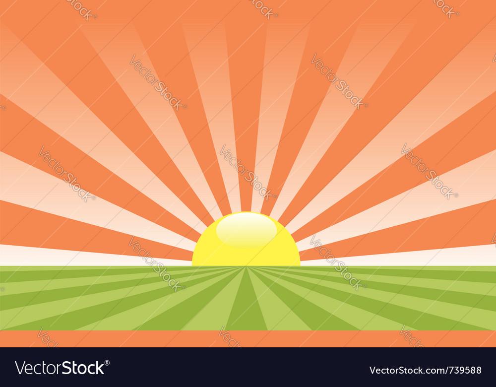 abstract rural landscape with rising sun vector image rh vectorstock com rising sun vector art rising sun vector download