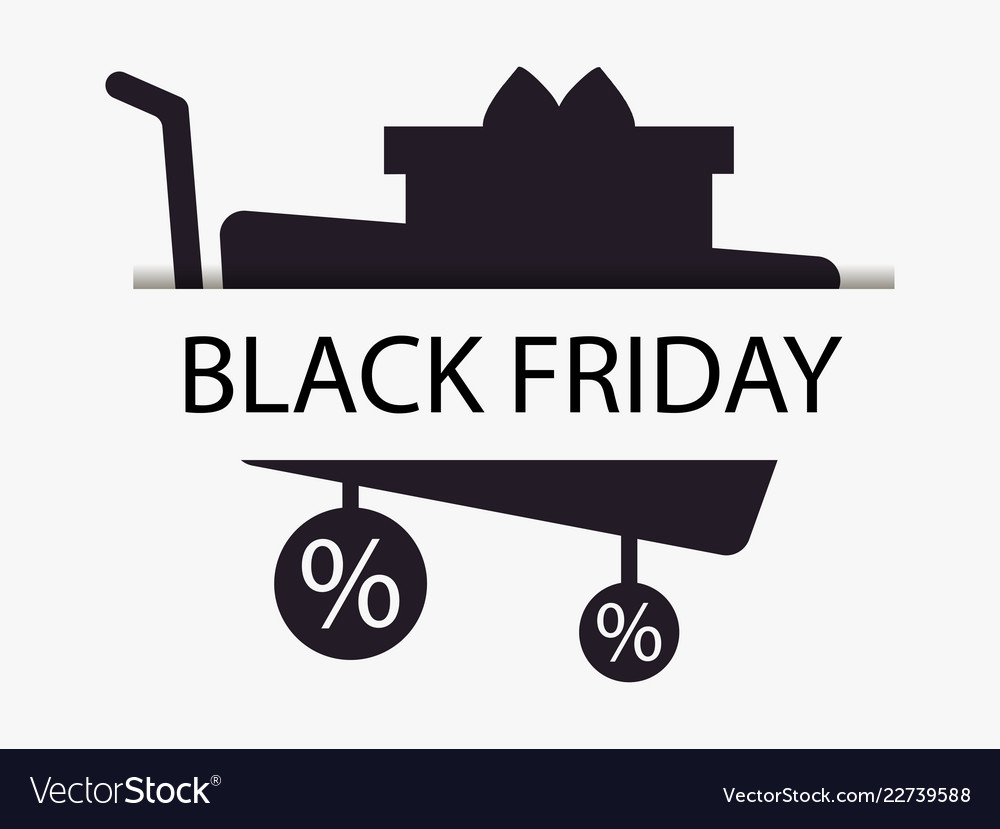 Black friday trolley and gift box shopping cart