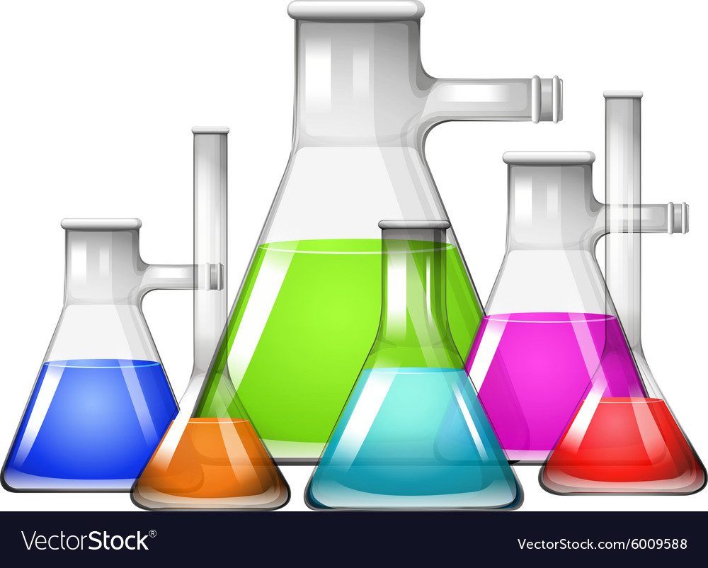 Chemical in different size of beakers vector image