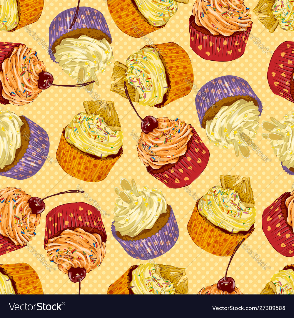 Colorful delicious cupcakes seamless pattern