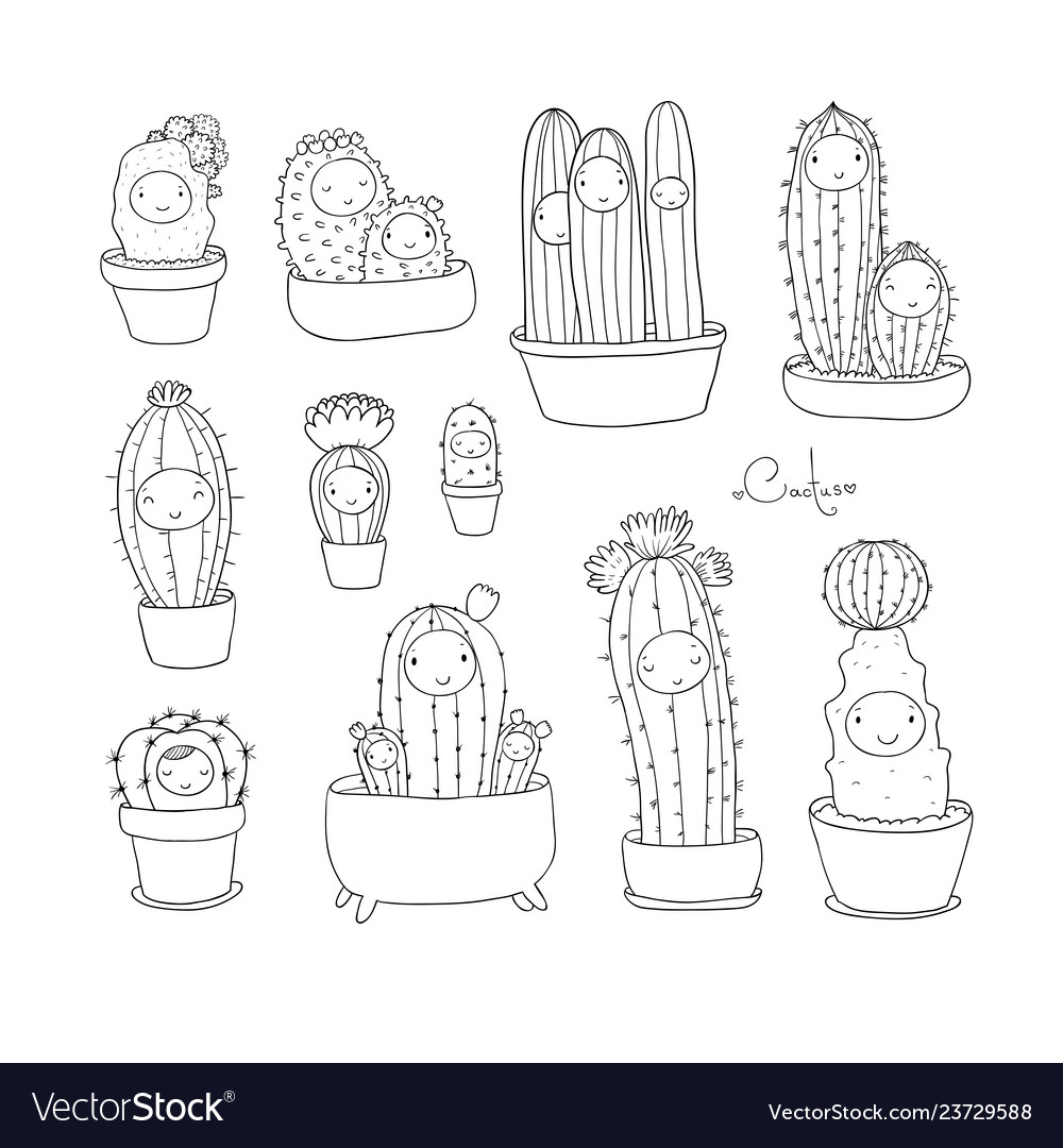 Cute cartoon cactus and succulents in pots