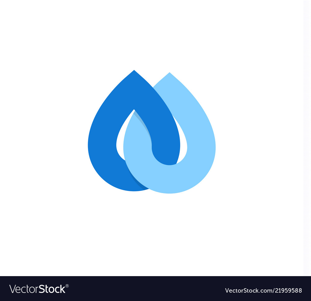 Falling drops icon clean water logo template