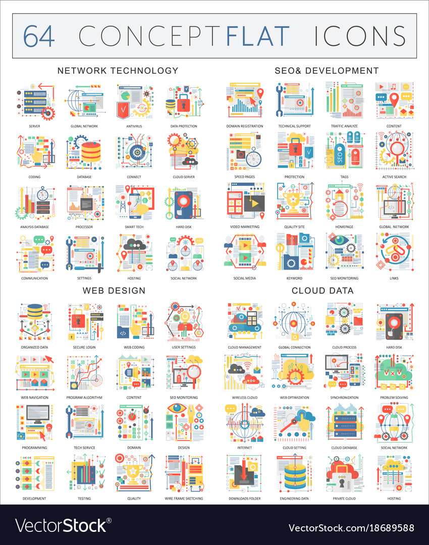 Infographics concept icons of network technology