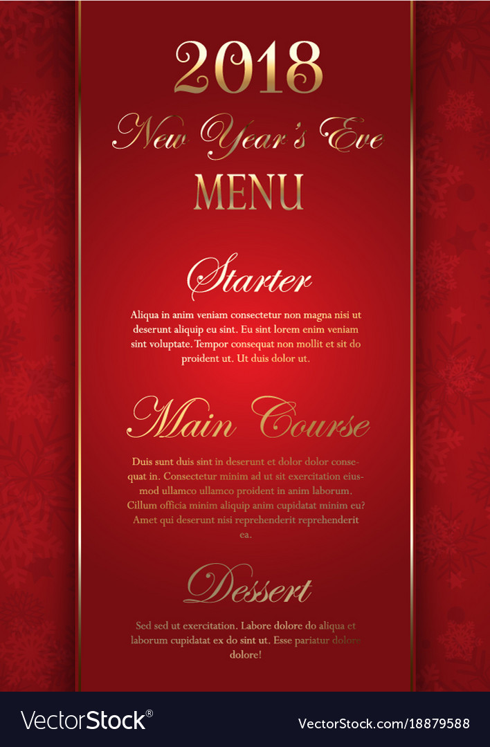 luxurious elegant new years eve menu design vector image