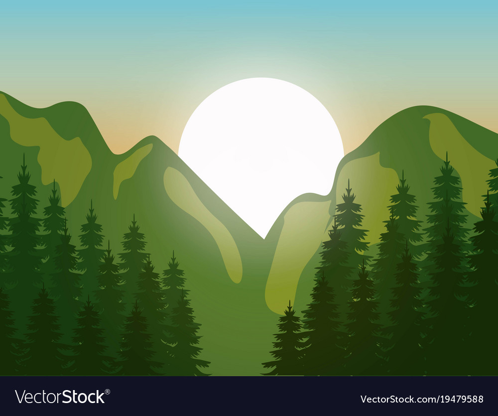 mountain landscape with forest design royalty free vector