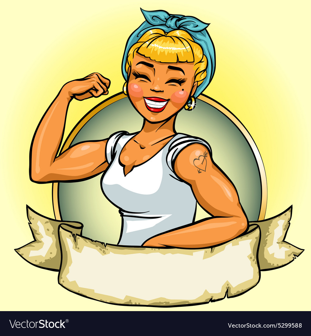 Retro Girl logo design Pin Up vector image