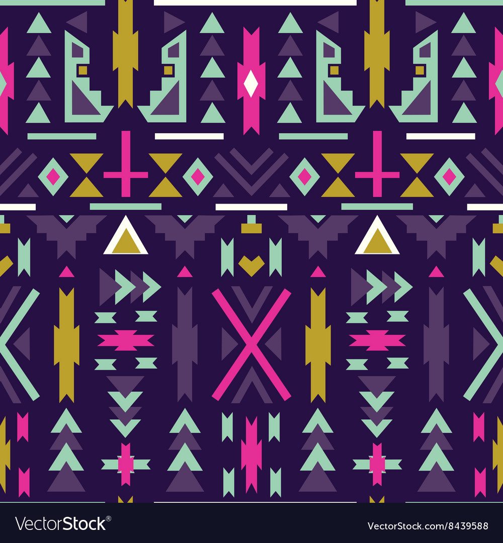Seamless colorful aztec pattern Dark background