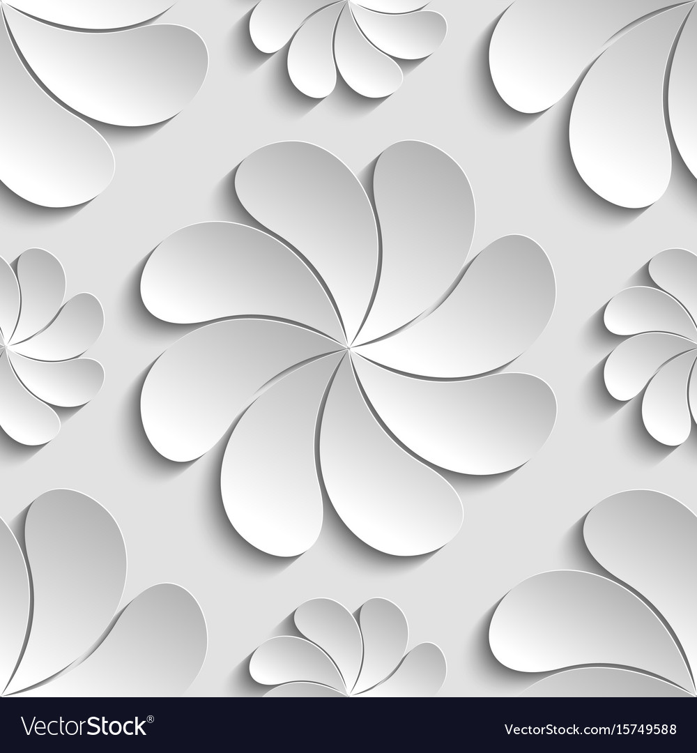 Seamless pattern white 3d paper flower circle 3d vector image mightylinksfo