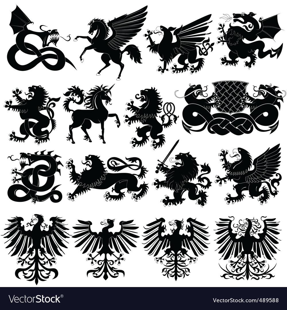 Set of heraldic animals