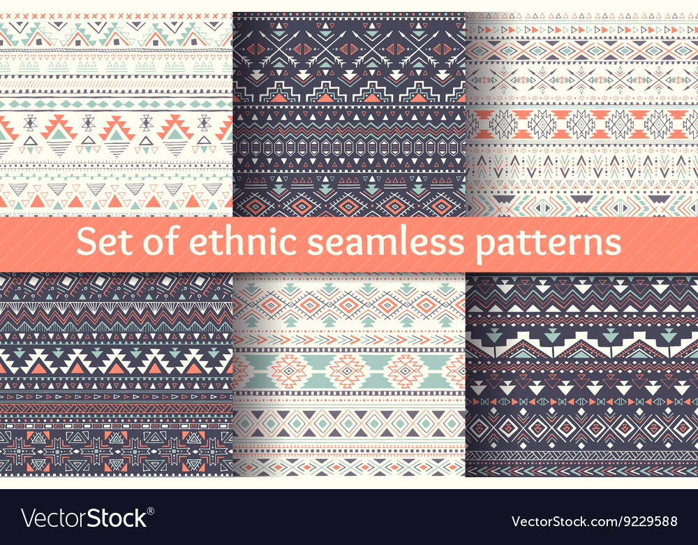 Set of six ethnic seamless patterns