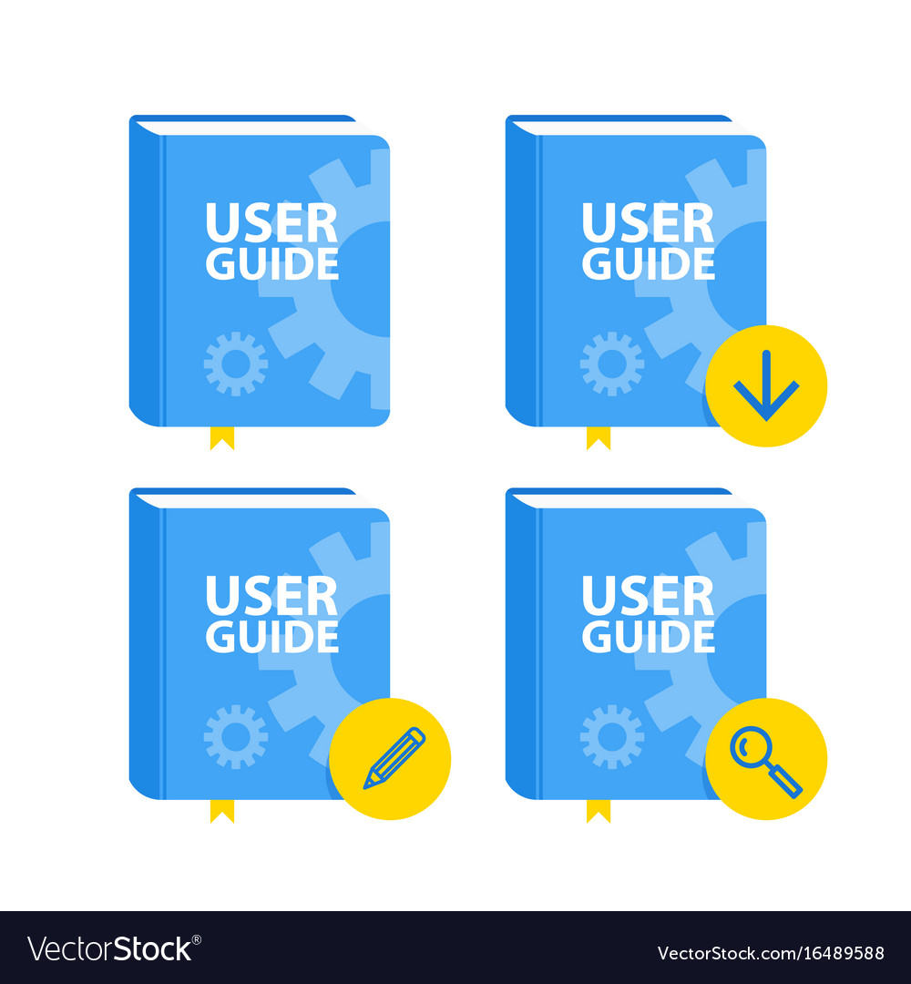 User guide book download icon set flat