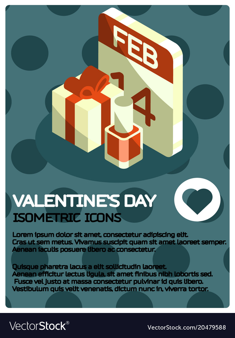 Valentines day isometric poster