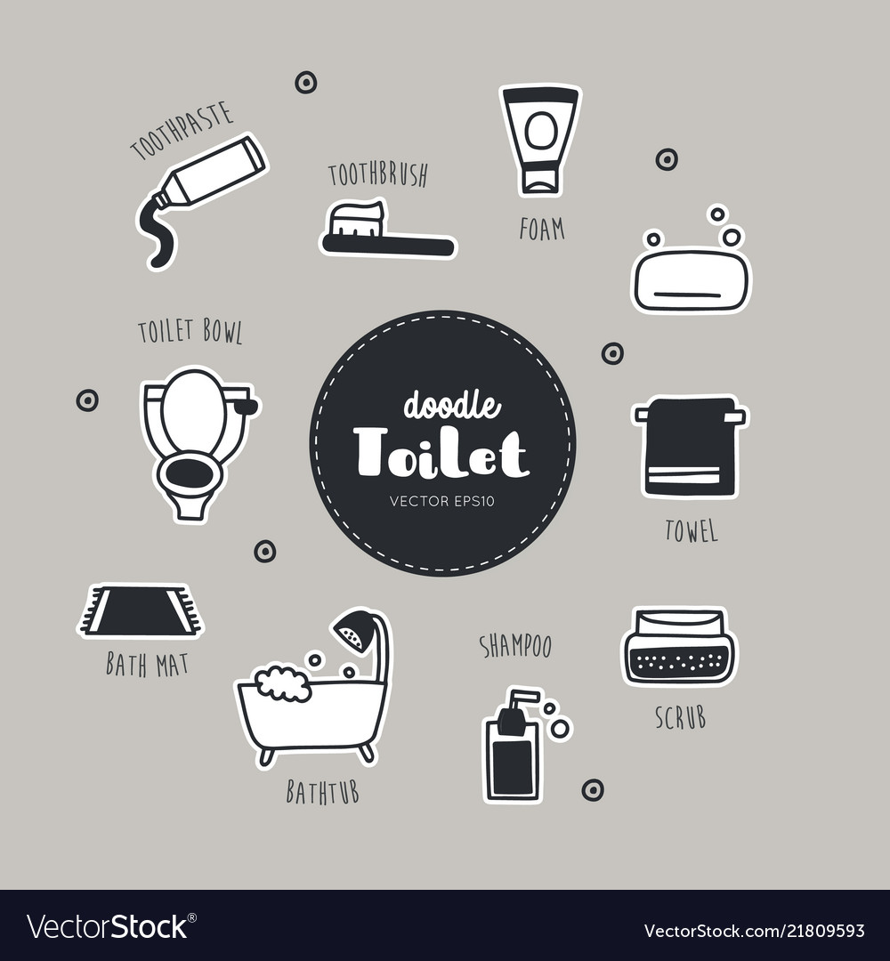 Bathroom and toilet hand drawn doodle icons set