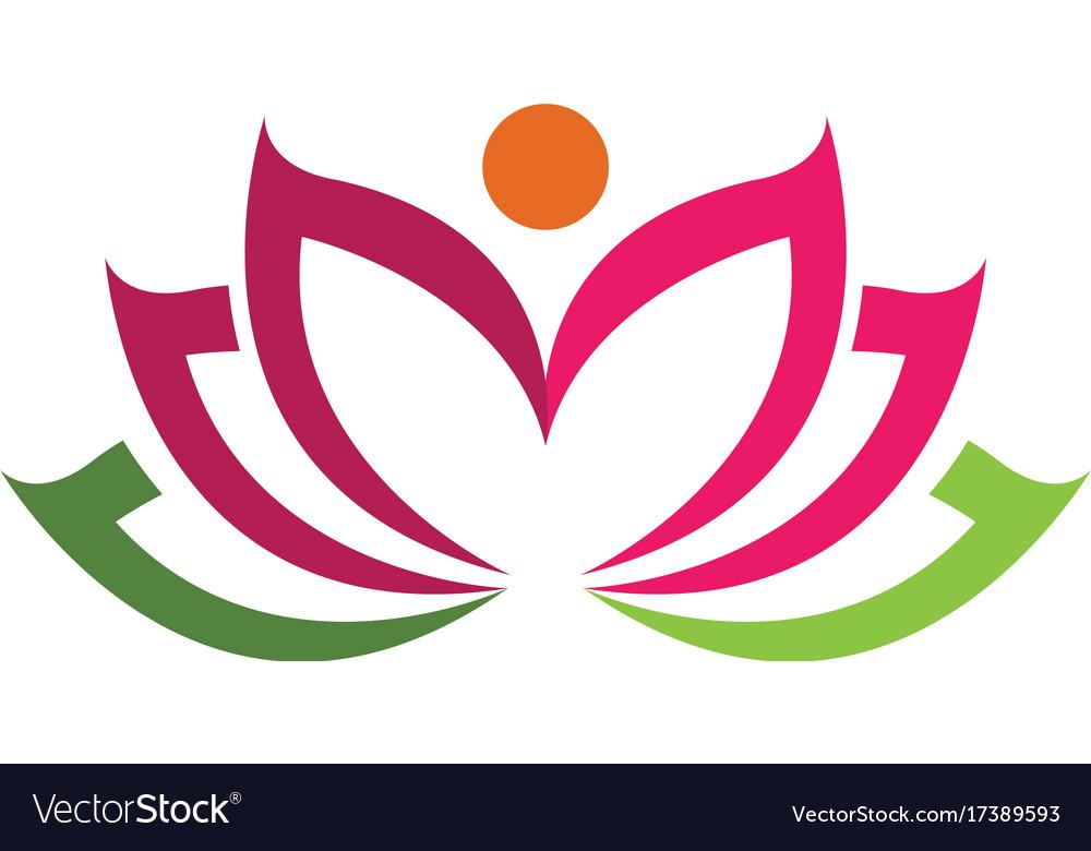 beauty lotus logo template royalty free vector image