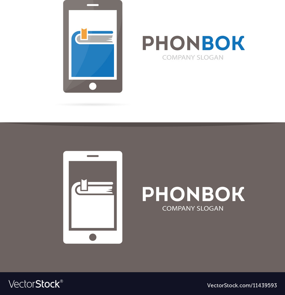 Book and phone logo combination Novel and