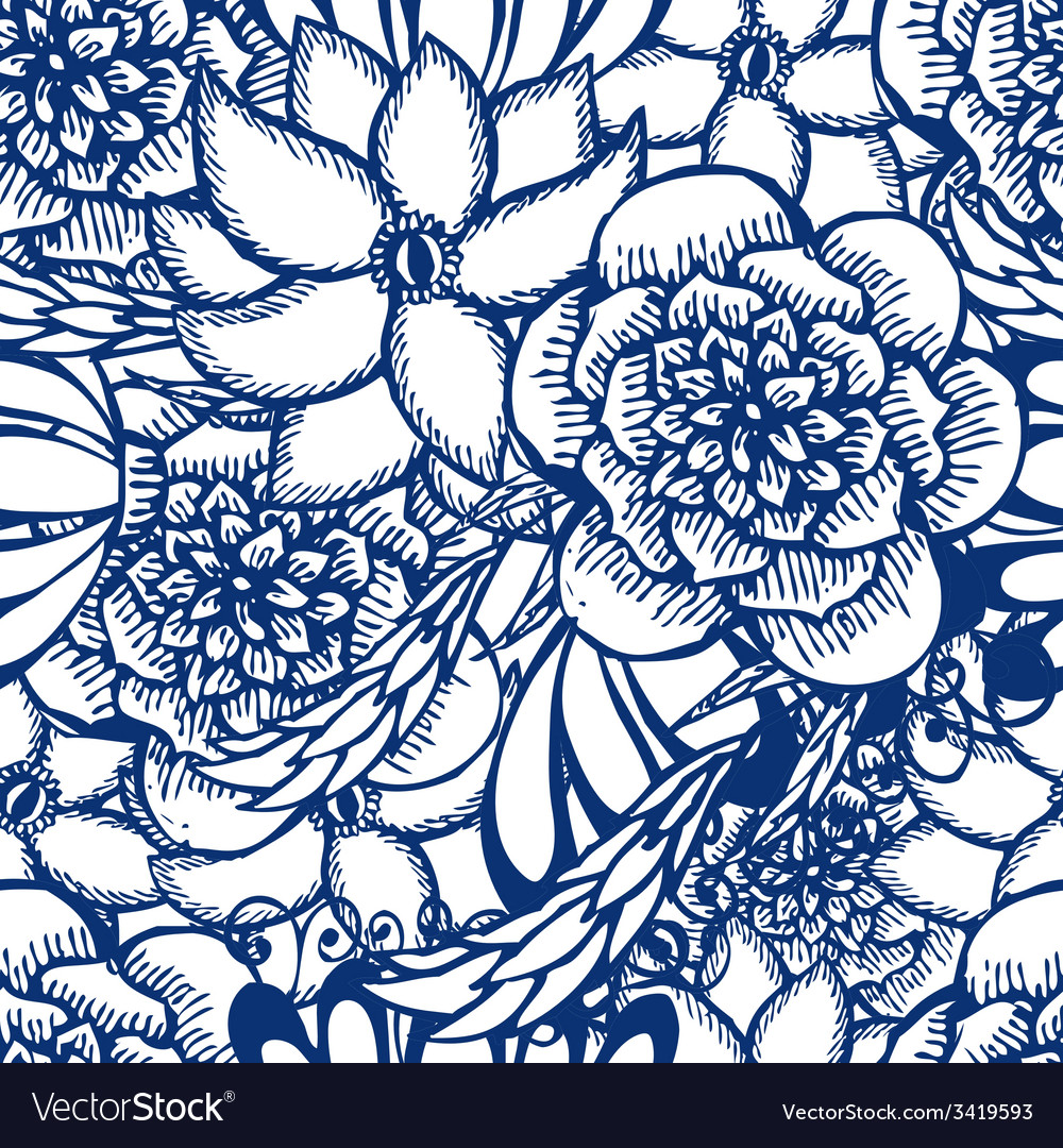 Floral hand drawn seamless pattern in tattoo style