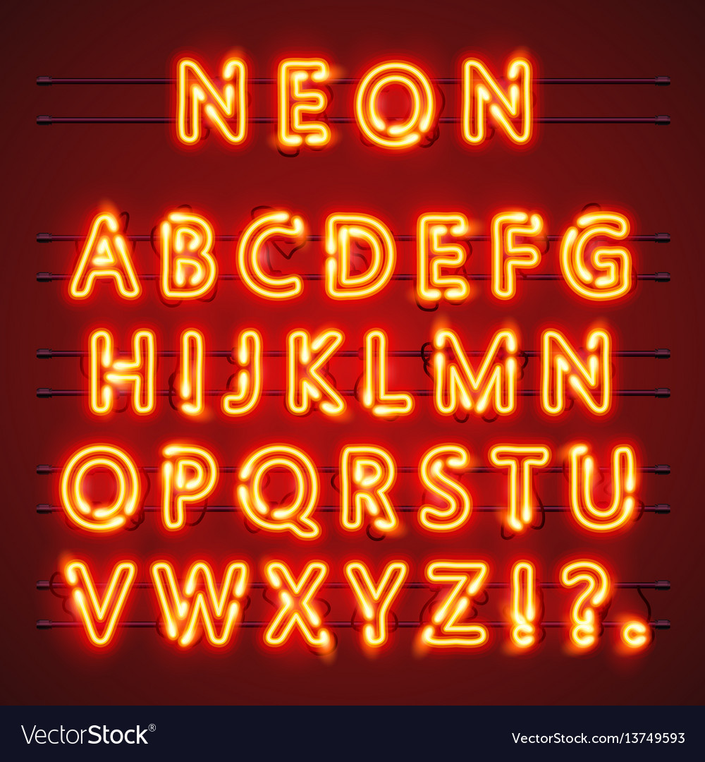 Neon font text lamp sign alphabet royalty free vector image neon font text lamp sign alphabet vector image thecheapjerseys