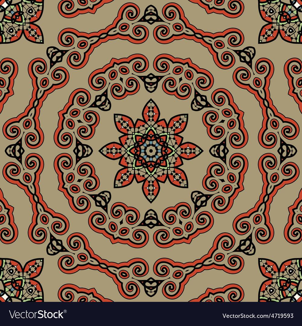 Seamless Tibet style mandala Oriental vintage art