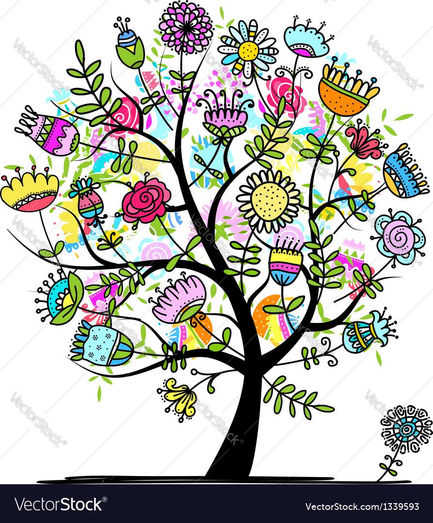 Sketch floral tree for your design