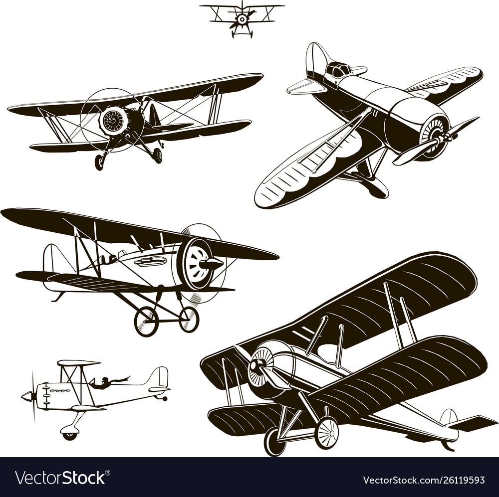 Vintage biplanes set black old logo