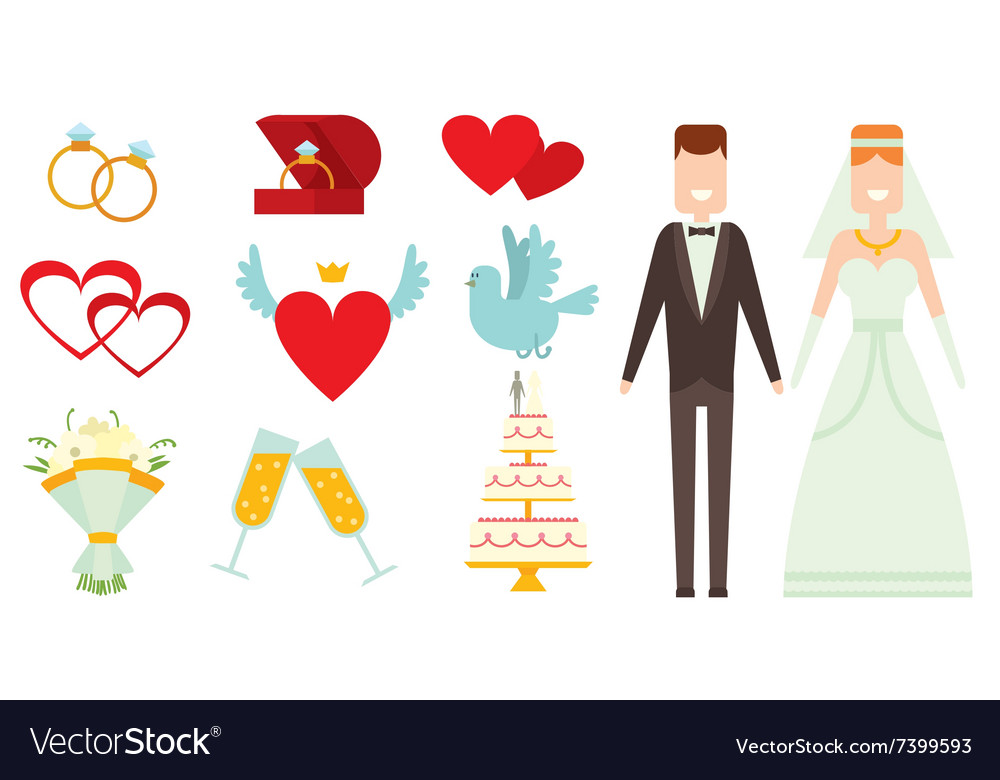 Wedding couple and icons cartoon style
