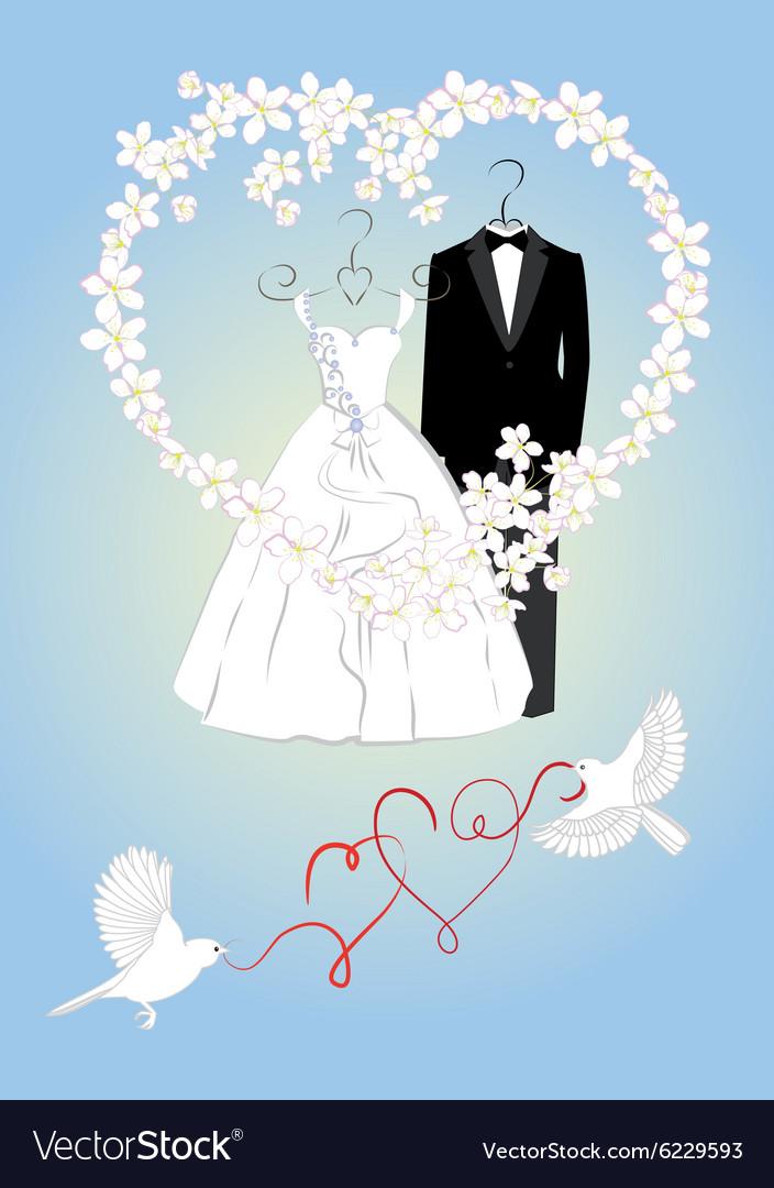 Wedding invitation with bride and groom dress