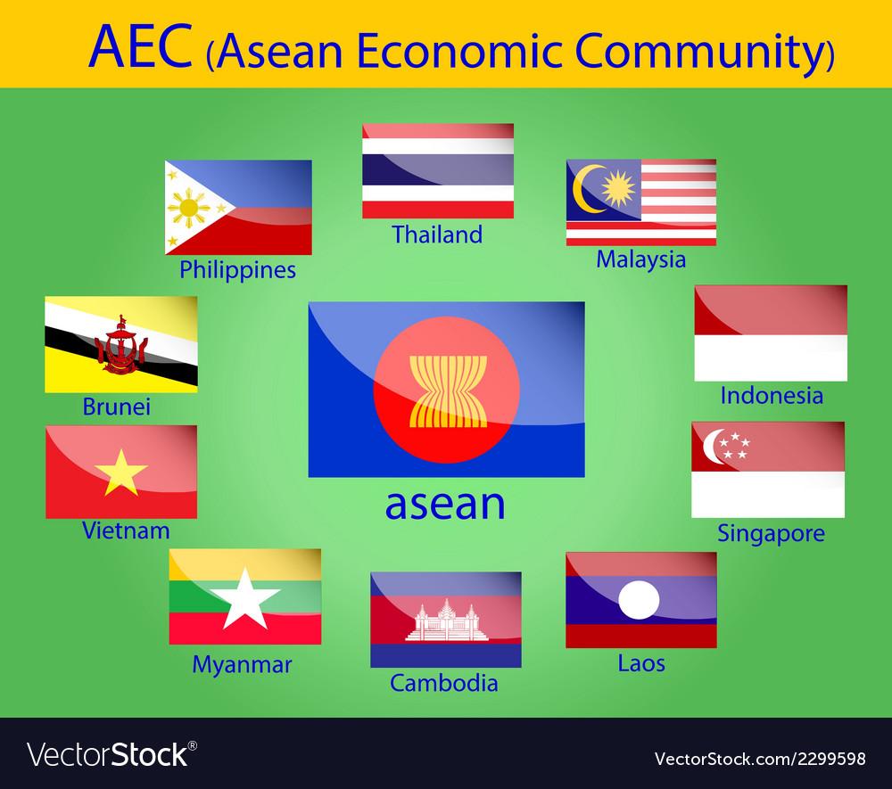 Asean flags vector image