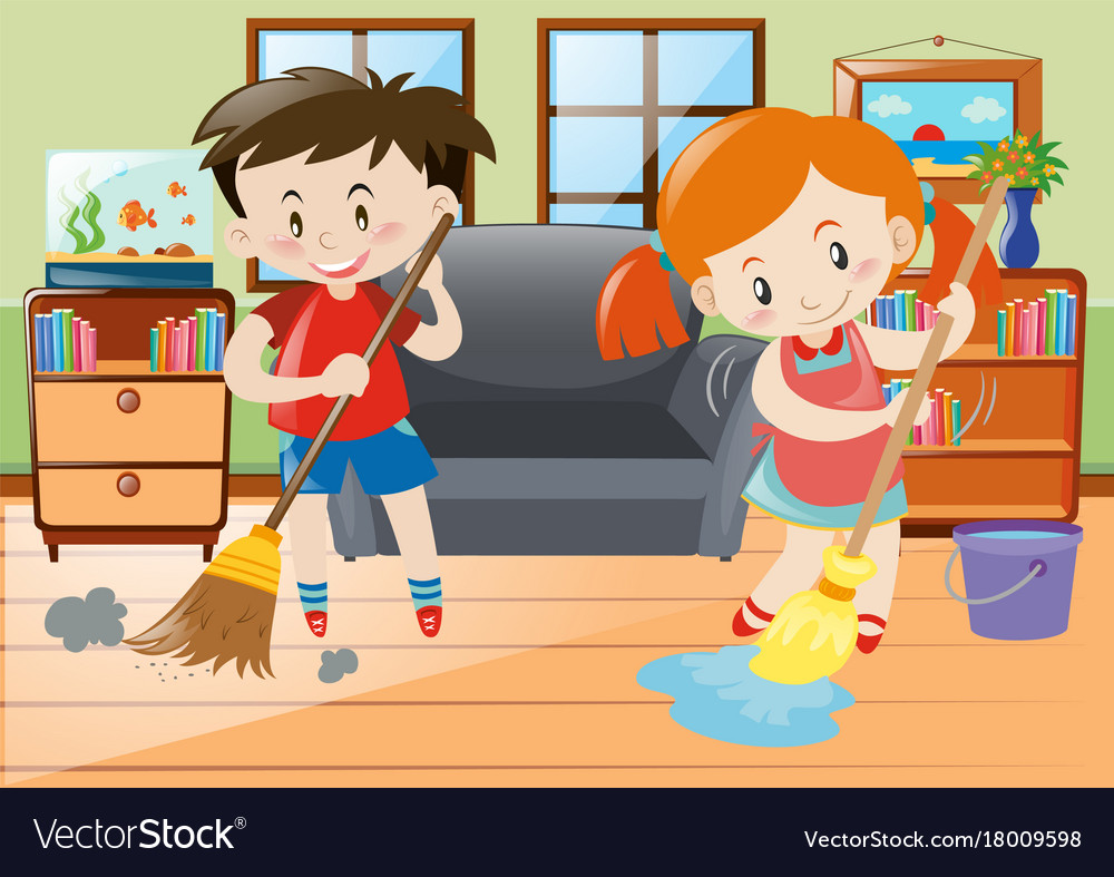 boy and girl doing chores in the house royalty free vector