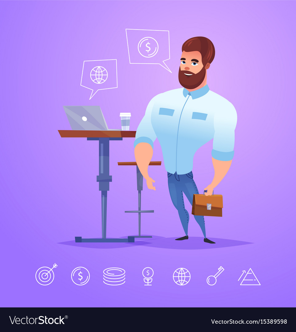 Business man character isolated vector image
