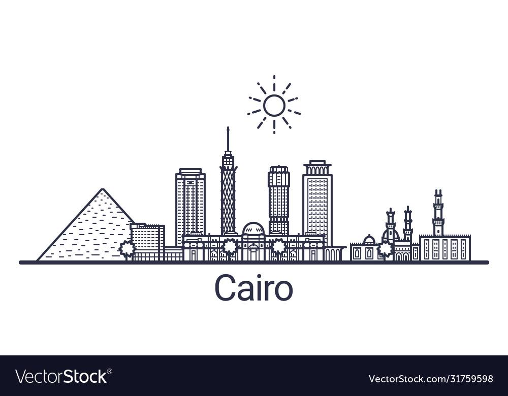 Cairo skyline banner linear style line art