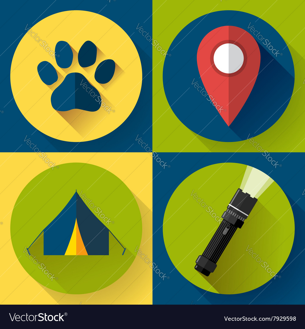 Camping Hiking icons set flat design style