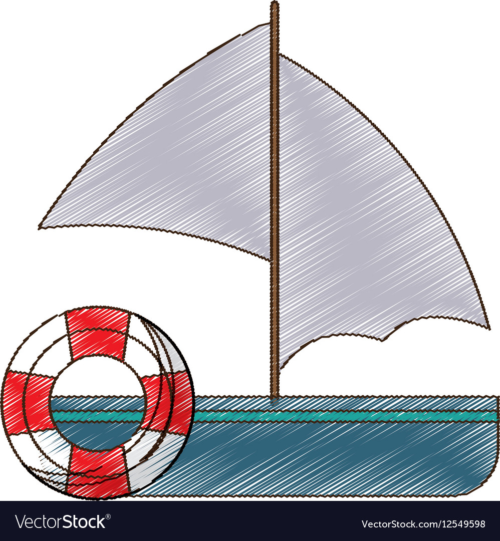 Drawing sailing boat buoy life travel vector image