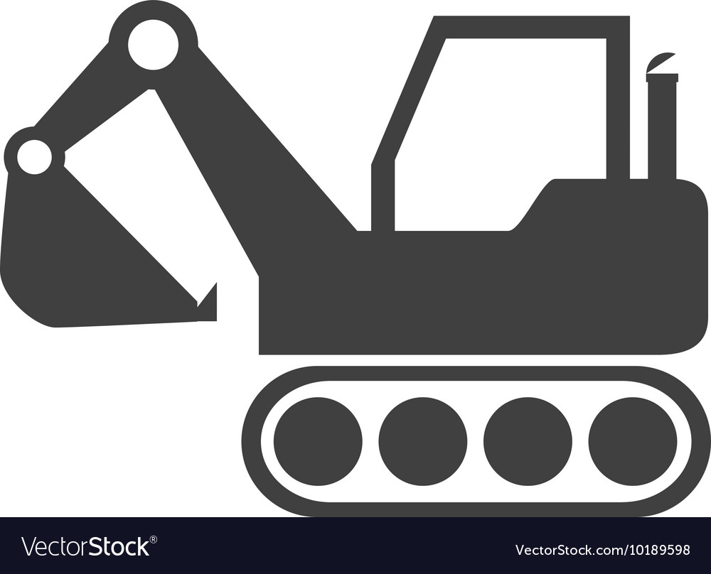 Excavator construction machinery icon