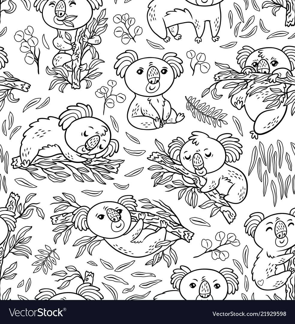 Fun koalas in the eucalyptus seamless pattern ink