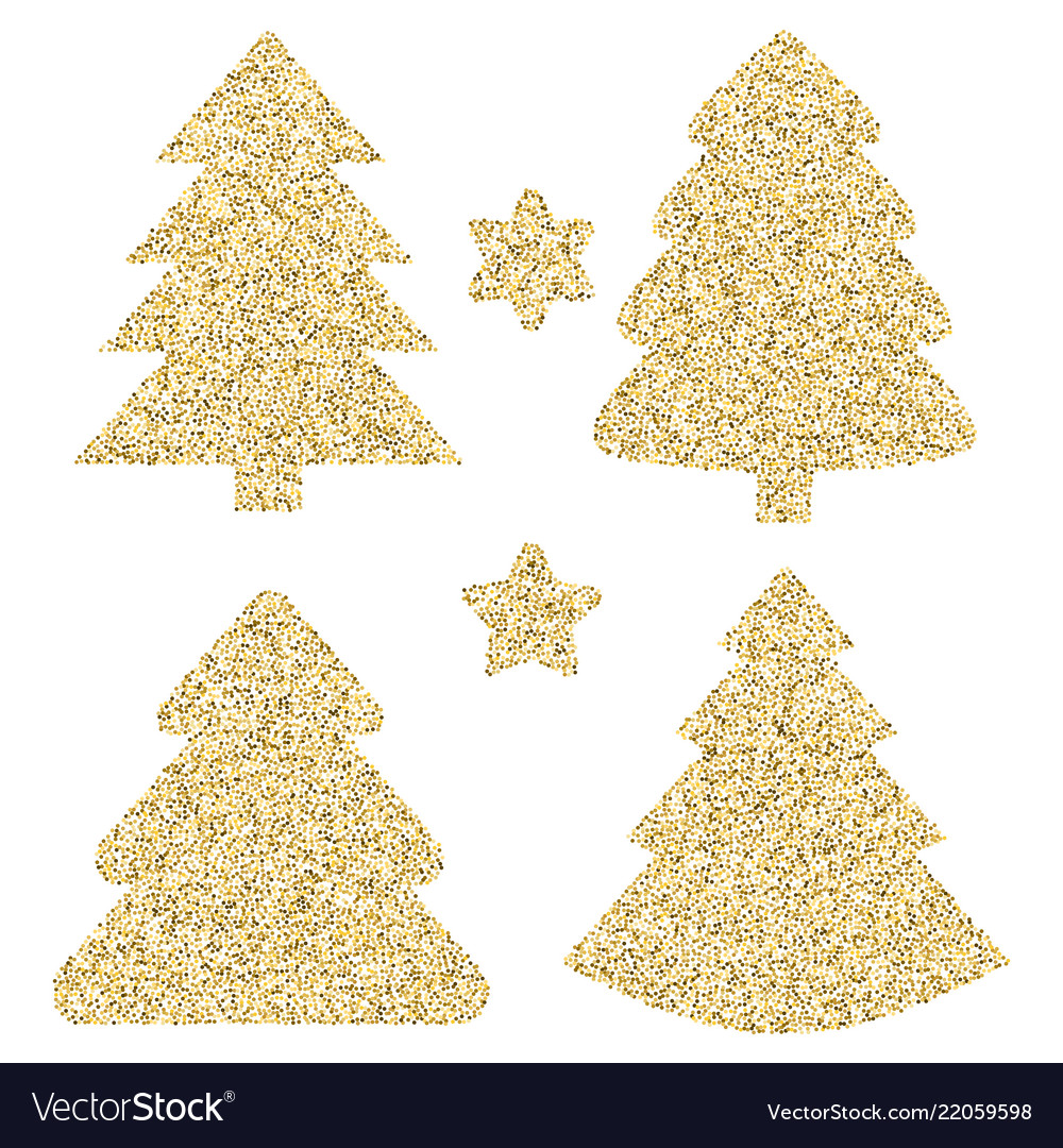 Christmas Tree Icon Png.Gold Glitter Icon Of Christmas Tree Isolated On