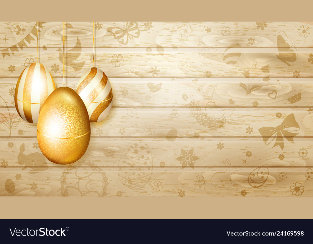Hanging golden easter eggs