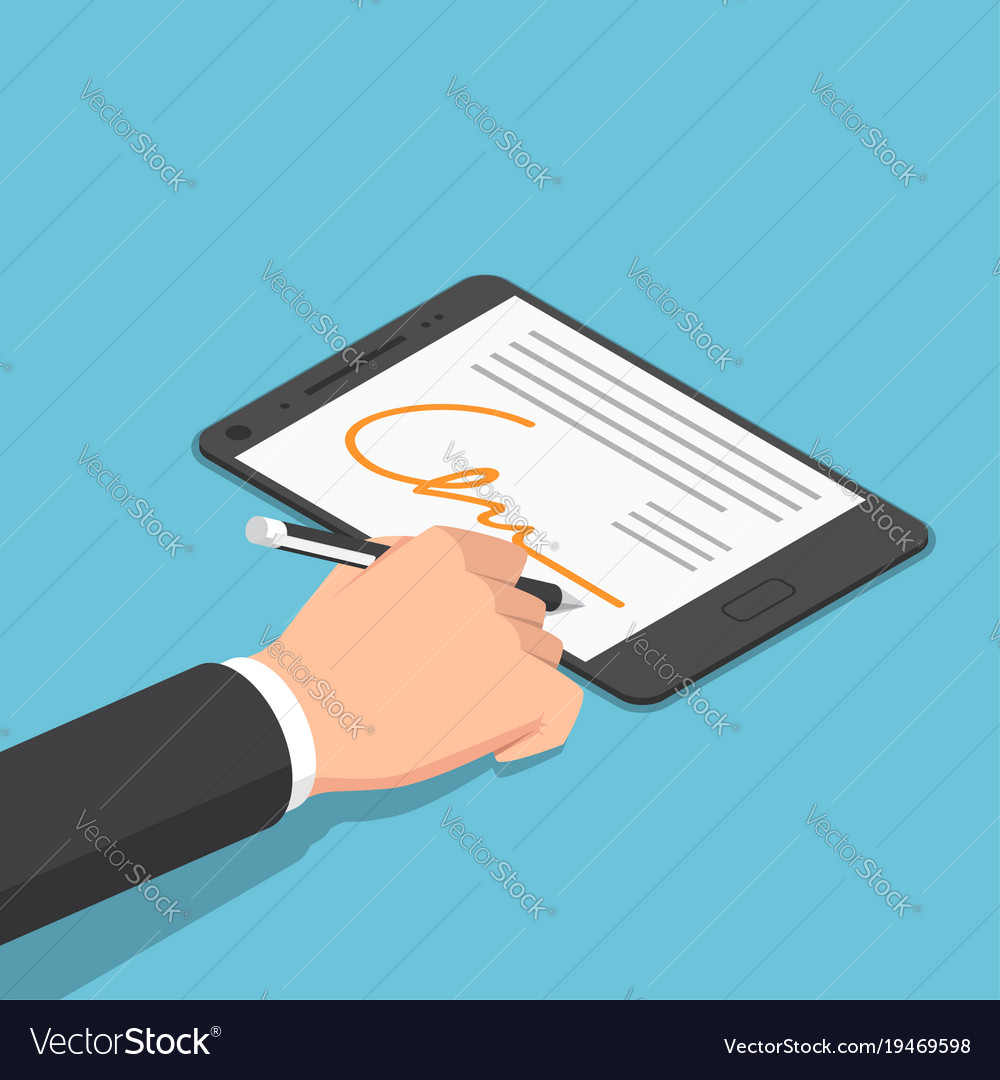 Isometric businessman hand signing digital vector image