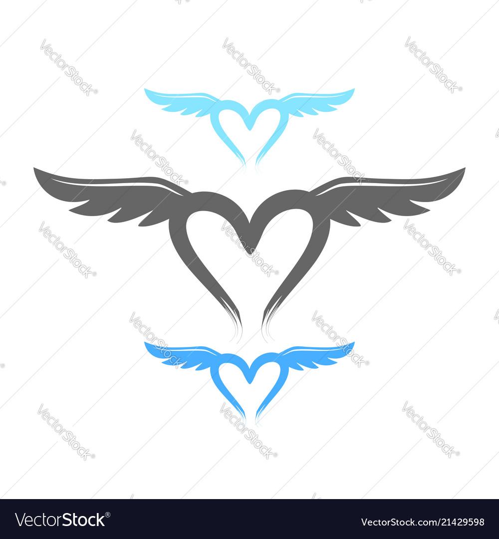 Love life wings symbol design