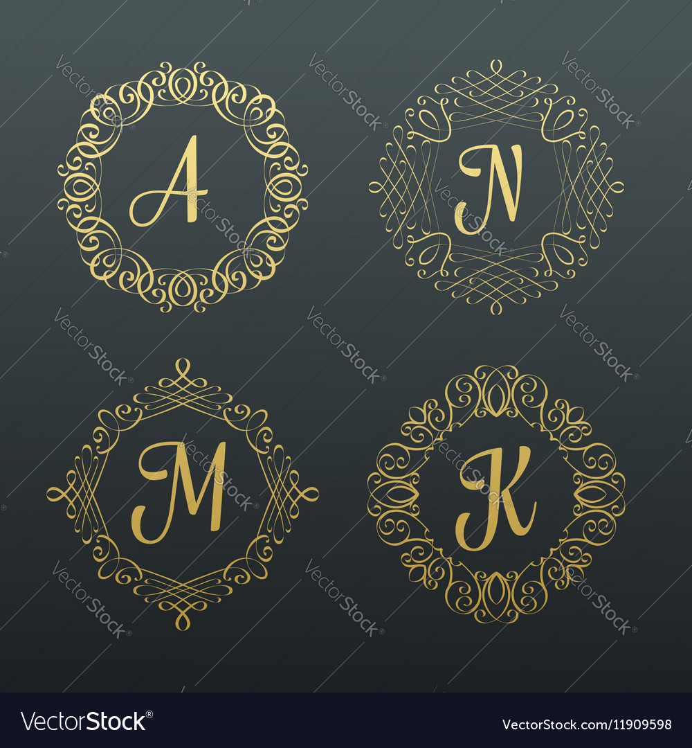 Monograms and calligraphic borders vector image