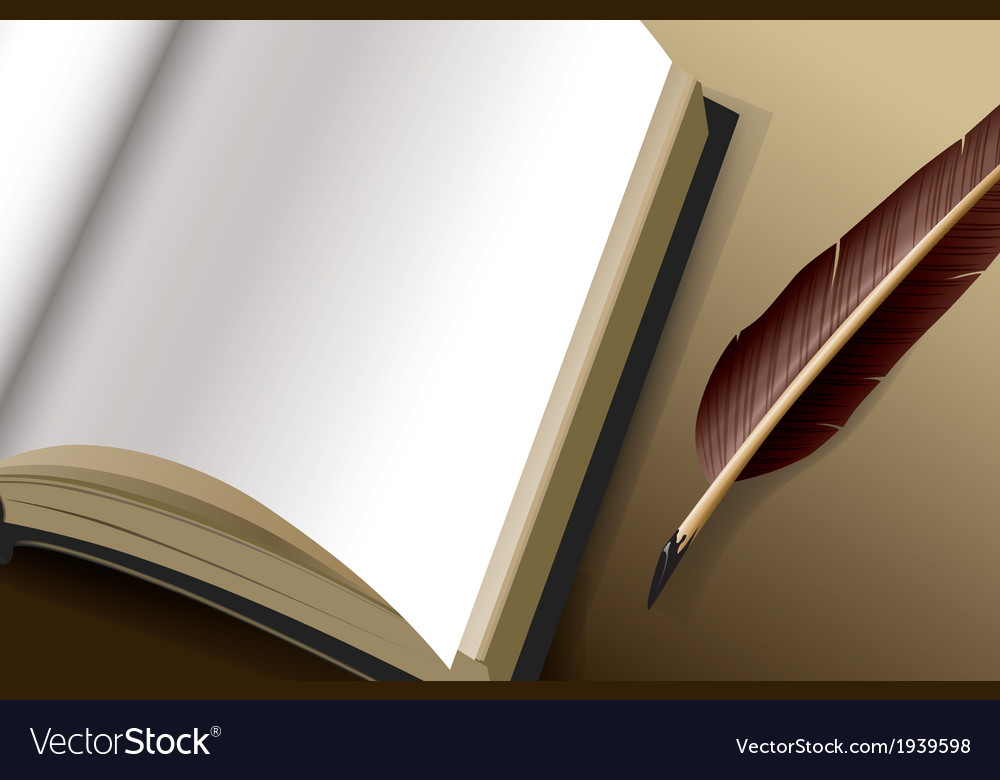 Open book with blank pages and feather pen ink